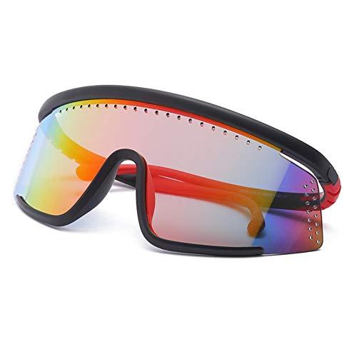 Uomo Donna Unisex Polarizzati Occhiali da Sole Uv400 Protezione Classico Moda Sunglasses Occhiali da Ciclismo Arancio con Lenti Rosse