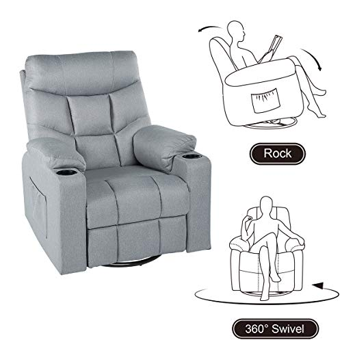 YODOLLA 360° Swivel & 140° Recling Massage Recliner Sofa, Rocking Chair for Living Room Theater Seat Lounge,(Gray)