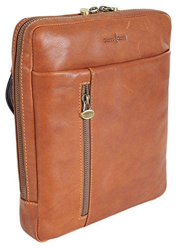 *SALE* Gianni Conti Medium Tan Fijn Italiaans Klassieke iPad Tablet Crossbody Messenger Bag WAS £124.99 912303