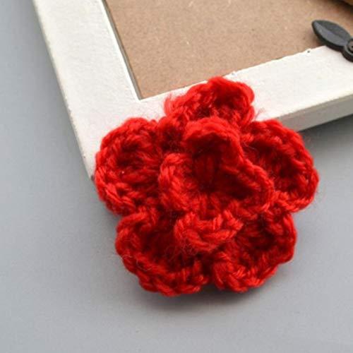 Lankater 10pcs Häkelblumen Strickhandgemachter Applique Häkeln Blumen-Flecken-verschönerungen DIY Haar-zusätze Schmuckherstellung