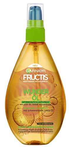 Fructis Wunder-Öl Hitzeschutz und Anti-Frizz Pflege, schützt vor Hitze bis 230° C, für sofort weicheres und glänzenderes Haar, 150 ml (3 Stück)