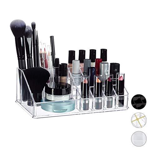 Relaxdays Organisateur Cosmétique Acrylique Rangement Make-Up 16 Casier Maquillage Support Rouge à Lèvre Transparent