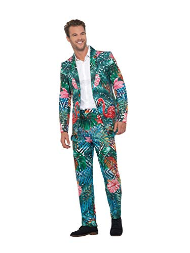 Smiffys Hawaiian Flamingo Suit Traje de Flamenco Tropical Hawaiano, Multicolor, L - Size 42