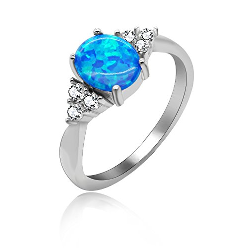 Uloveido 2.96g 925 Sterling Silver Birth-Stone Ring Oval Cut Created Blue Fire Opal with Round Clear CZ Wedding Engagement Jewellery for Women Size Q JZ125