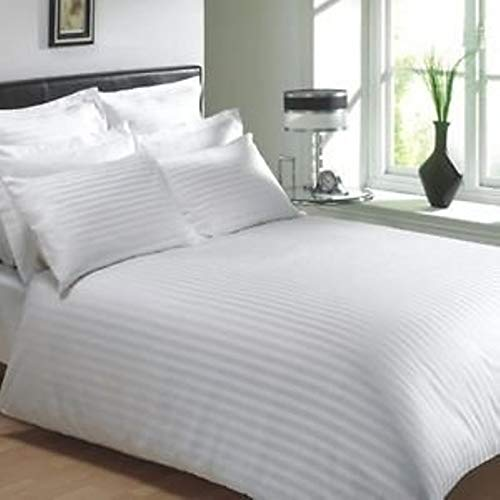 Trance Home Linen 100% 200 Tc self Satin Stripes White Duvet Cover Only Single 60 * 92
