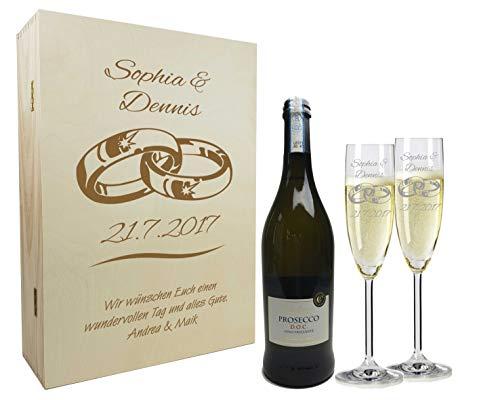 Sekt Geschenkset mit Namen graviert - personalisierte Sektgläser mit Flasche - Holzkiste mit individueller Wunsch-Gravur als Geschenk für Paare zur Hochzeit Ringe