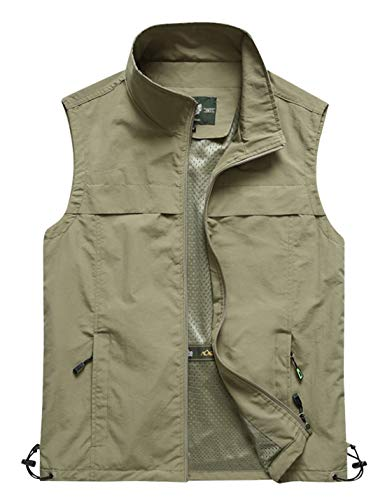 Gihuo Men's Lightweight Quick Dry Outdoor Multi Pockets Fishing Vest (Small, Style3-Khaki)