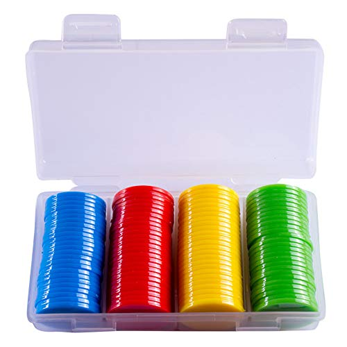 Onsinic 100Pcs 25mm Kunststoff-Poker Chips Bingo Marker für Fun Family Club Carnival Bingo Brettspiel SuppliesColors mit Kunststoff-Box