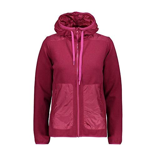 CMP Veste Femme Veste Fix Hood Rouge Élastique Plaine Stretch Double Jersey - H916 Karkade, 38