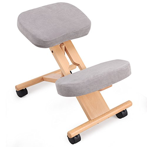 COSTWAY Ergonomic Kneeling Chair, Wood Posture Stool with Angle & Height...