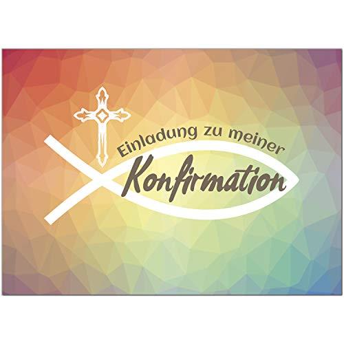 15 x Einladungskarten zur Konfirmation mit Umschlägen/Regenbogenverlauf Mosaik Modern/Konfirmationskarten/Einladungen zur Feier