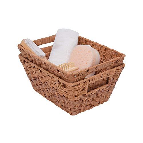 GRANNY SAYS Hand-Woven Storage Baskets, Wicker Baskets with Handles, Trapezoid Decorative Baskets, Walnut, 12' x 9' x 5.5', Set of 2