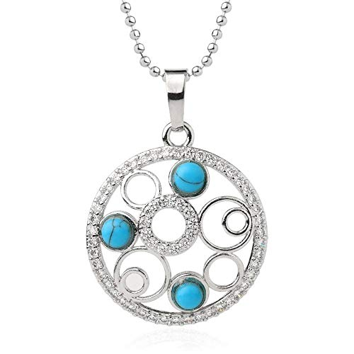 Necklace For Women,Vintage Punk Reiki 7 Chakra Natural Gem Blue Turquoise Stone 4Mm Tiny Micro Inlay Zircon Multi-Circle Round Hollow Pendant Necklaces With Silver Chain Christmas Party Gift For W