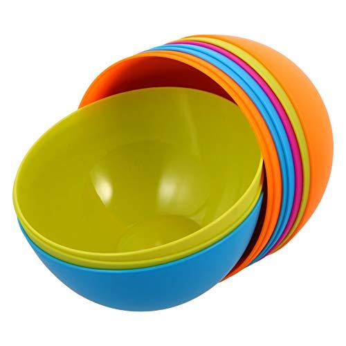 Cabilock 10 Unidades de Tazón de Plástico para Ensaladas Cuenco Redondo para Frutas Tazón de Mezcla Colorido Cuenco para Servir Vajilla Irrompible para Pasta de Cereal Sopa de Ramen Pho