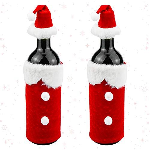 Demason 2 Pcs Sombrero Rojo para Botella de Vino Navidad, Funda de Botella de Vino, Conejita (11 * 18cm), Decoración para Mesa, Accesorios de Fiesta, para Navidad