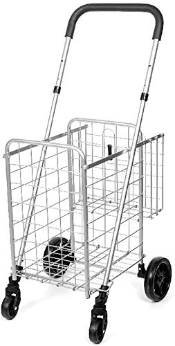 Rabbfay Supermarket Large Capacity Shopping Trolley, Stair Climbing Shopping Cart Max Load 40kg, for Miscellaneous Trucks, Travel Luggage Carts, Mountain Bikes,1