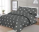 NORA HOME Funda Nordica Stars Estrellas Gris 100% Algodon 180 Hilos (Cama de 200 cm (285 de Ancho x 270 de Largo))
