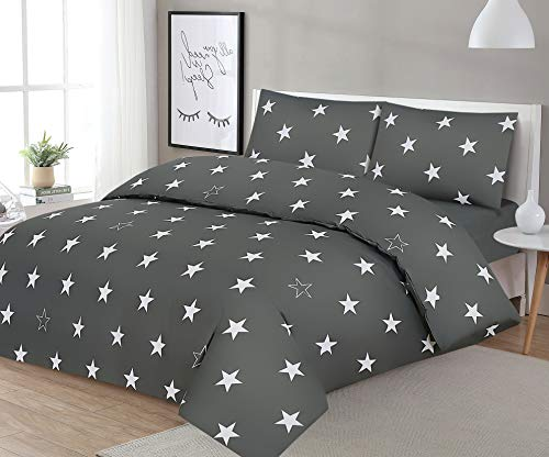 NORA HOME Funda Nordica Stars Estrellas Gris 100% Algodon 180 Hilos (Cama de 150/160 cm (245 de Ancho x 270 de Largo))