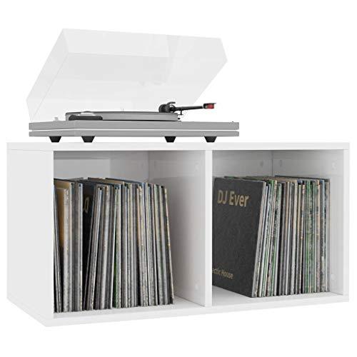 Festnight Schallplatten-Aufbewahrungsbox Hochglanz-Weiß 71×34×36cm Ordnerregal Büro Nachttisch Transportkoffer