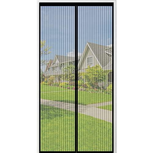 Insektenschutz Balkontür, AmzKoi Fliegengitter Tür Magnet Ohne Bohren 100x200cm, Fliegenschutz Tür Automatisch Verschließen für Balkontür Wohnzimmer Terrassentür (Schwarz)