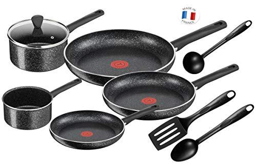 Tefal Batterie De Cuisine Poêles et Casseroles Brut 9 pièces Tous Feux Dont Induction C2649202, Aluminium, Noir, 59 x 39 x 28 cm