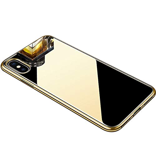 Luxury Fashion Mirror Phone Case for iPhone XR Case 6.1 inch Soft TPU Bumper Frame Shockproof + Tempered Glass Back Cover for Apple iPhone XR Phone Case Protective Case (Gold)
