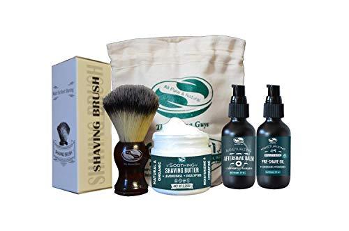 Lemongrass & Eucalyptus Shaving Kit Set For Men - Includes Shaving Butter, Pre Shave Oil, Aftershave Balm & Shaving Brush, Shaving Kit For Sensitive Skin - Gifts For Him