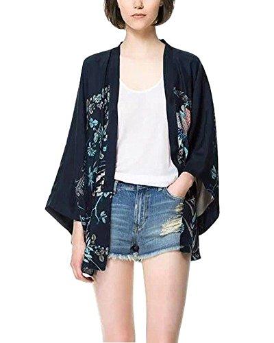 Minetom Donna Ragazze Elegante Fenice Phoenix Stampato Kimono Cardigan Vintage Manica Lunga Cappotto Corto Casuale Giacca Tops Blu IT 38