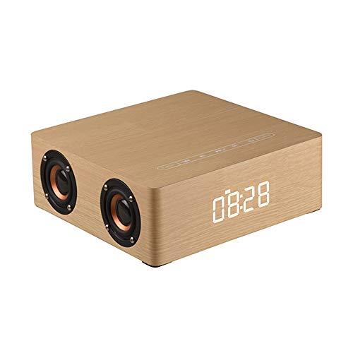 GWX Bluetooth luidspreker voor buiten kaarten auto hout subwoofer met wekkerfunctie voor outdoor muziekspel en geschenken