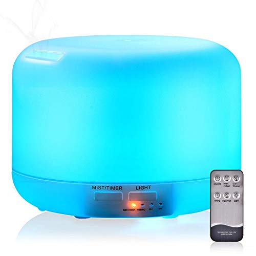 KACOOL Plastic Ultrasonic 300ML Essential Oil Aroma Diffuser Cool-Mist Humidifier with 7 LED Color Nightlight Options and 4 Timer Settings with Remote Control