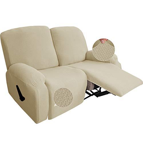 GYHH Neueste 6-teilige Strech Recliner Überzug Sessel Husse Relax Fernsehsessel Relaxstuhl Sesselbezug Für Liegestuhlschutz Mit Tasche (Light Beige)