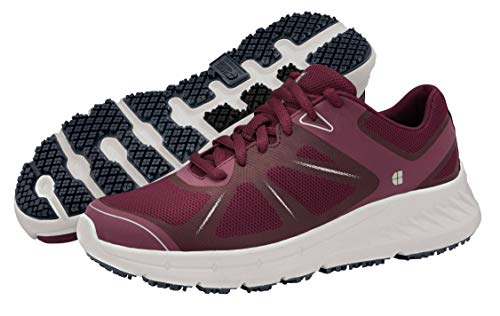 Shoes for Crews Womens Vitality Sneaker, Maroon,9.5