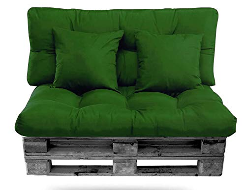 Conjunto de Cojines Palet (Asiento + Respaldo + 2 Cojines Decorativos) para palets. Cojín de Palets y de sillones de 2 plazas. Ideal para Interior y Exterior (Verde)