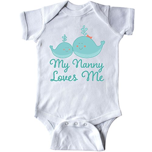 inktastic Nanny Loves Me Grandchild Whale Infant Creeper 6 Months White 2df67