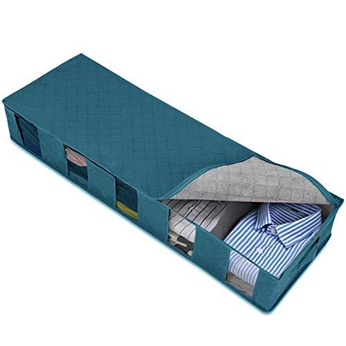 WANZSC Bolsas plegables para debajo de la cama, 1/2 unidades grandes cajas de almacenamiento para debajo de la cama, bolsas de almacenamiento con cremallera (azul)
