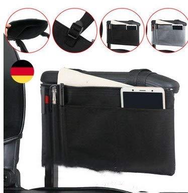 Rollstuhl Tasche wasserdicht Mobilität Roller Armlehne Tasche langlebig Rollstuhl einkaufen Reise Aufbewahrungstasche (schwarz)