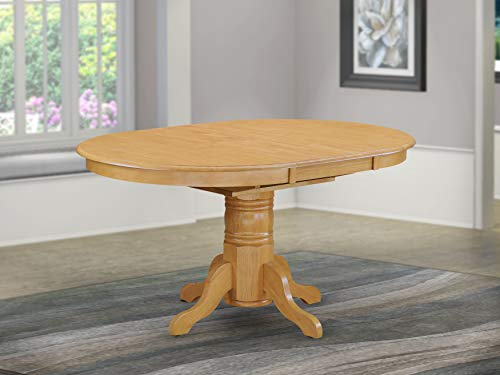 East West Furniture AVT-OAK-TP Butterfly leaf Oval Table - Oak Table Top Surface and Oak Finish Pedestal Legs Hardwood Frame Wood Kitchen Table