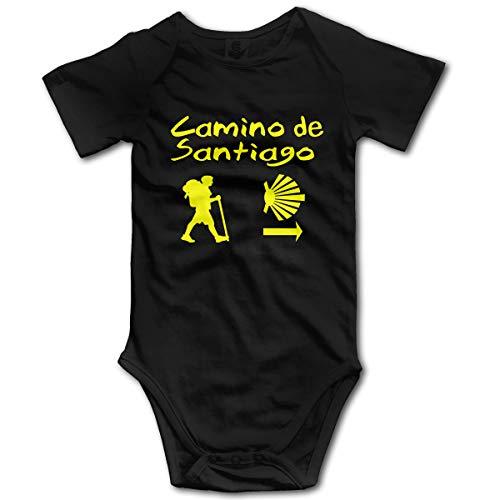 Abigails Home Camino De Santiago Compostela Newborn Girl Boy Kid Baby Romper Short Sleeve Toddler(12M,Black)