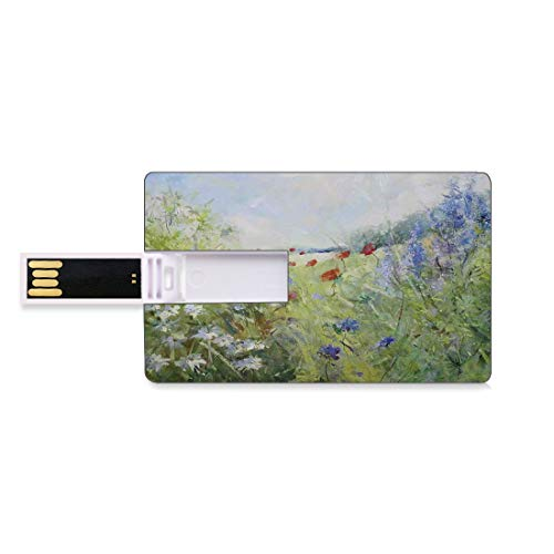 32GB USB Flash Thumb Drives Flower Bank Credit Card Shape Business Key U Disk Memory Stick Storage Summer Terrace Gate with Colorful Flowers in a Garden in Greece Image,Green Blue White Personalized