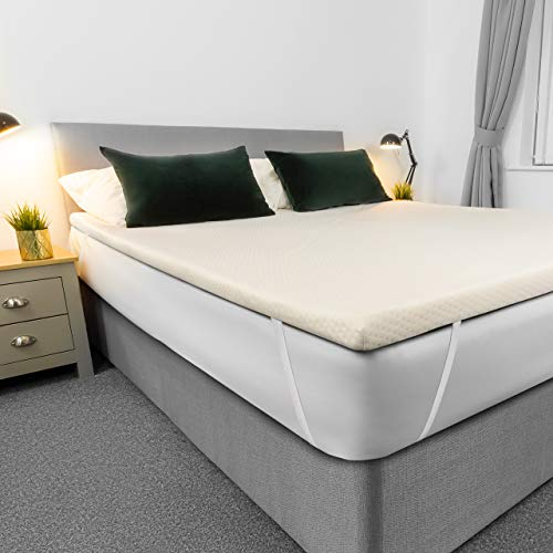 AviiatoR 5cm Memory Foam Mattress Topper Double Bed, Made In The UK, Double Size Bed, Bed Topper, Orthopaedic Pressure Relief With Washable & Removable Cover, Back Pain Support (135x190cm)
