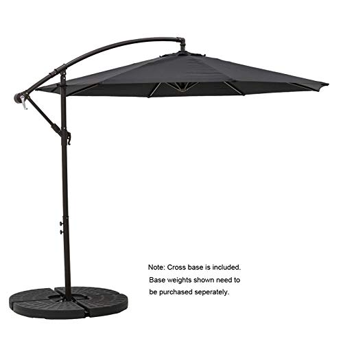 C-Hopetree 10 ft Offset Cantilever Outdoor Patio Umbrella with Cross Base Stand, Black