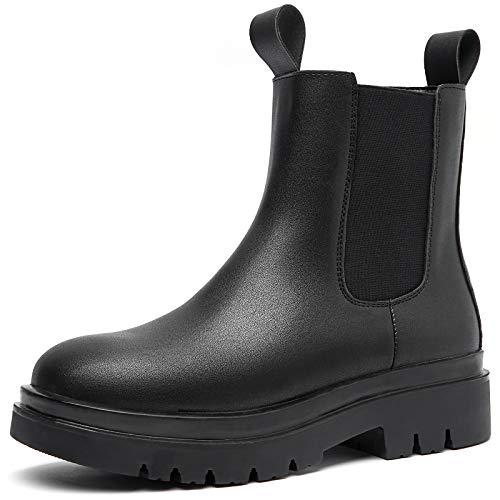 ZGR Women's Black Combat Boots Waterproof PU Ankle Booties Mid Calf Zipper Comfortable Fashion Boots (black2, 6)