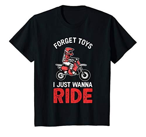 Kids Forget Toys I Wanna Ride   Funny Boys & Girls Dirt Bike T-Shirt