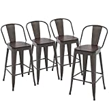 Yongqiang 30' Metal Bar Stools Set of 4 Bar Height Stools Kitchen Dining Bar Chairs High Back Barstools with Wooden Seat Industrial Rusty