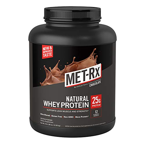 MET-Rx Natural Whey Protein Powder, Chocolate, 5 lb., Easy Mix Protein Powder, 23 g Protein, 5g BCAAs from Ultra Filtered Whey Protein, For Pre/Post Workout, Gluten Free