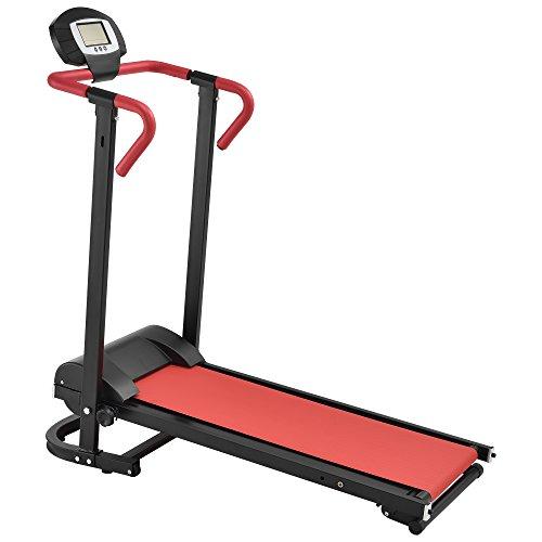 [in.tec] Cinta de Correr [roja] mecánica (NO automático) con Pantalla LCD Plegable Entrenamiento en casa Fitness