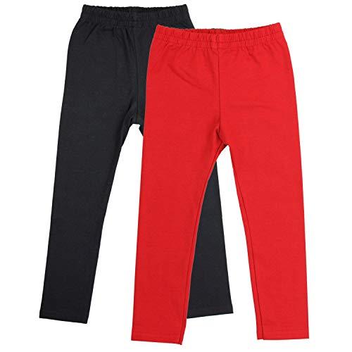 TupTam Mädchen Lange Leggings Unifarbe 2er Pack, Farbe: Schwarz/Rot, Größe: 146