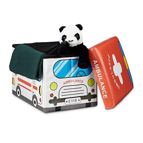 Relaxdays Coffre à jouets similicuir boîte à jouets couvercle tabouret pouf enfant pliable H x l x P: 32 x 48 x 32 cm capacité 37 L, ambulance