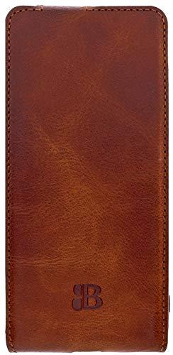 Burkley Handyhülle für Samsung Galaxy S21 (5G) Hülle kompatibel mit Galaxy S21 Handytasche Flip Hülle Schutzhülle mit Kartenfach (Sattelbraun/Burnished)