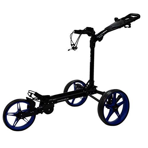 Tour made Haicaddy Travel Flat HC1 Chariot de golf à 3 roues Push-Trolley Noir/bleu